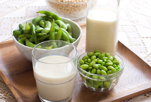 Soy milk with fresh & dry soybeans.