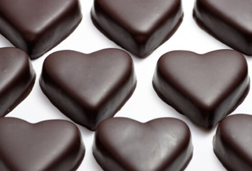 Chocolate contains heart-healthy resveratrol and cocoa phenols.