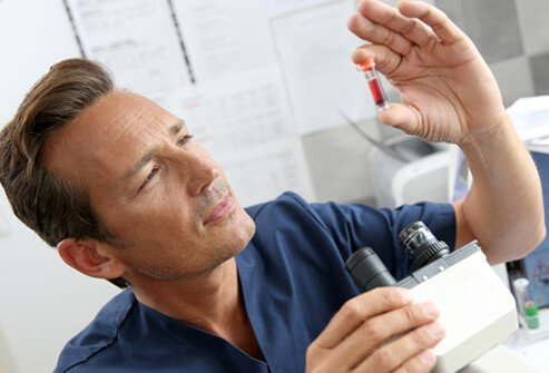 Hepatitis C infection is diagnosed with several blood tests.