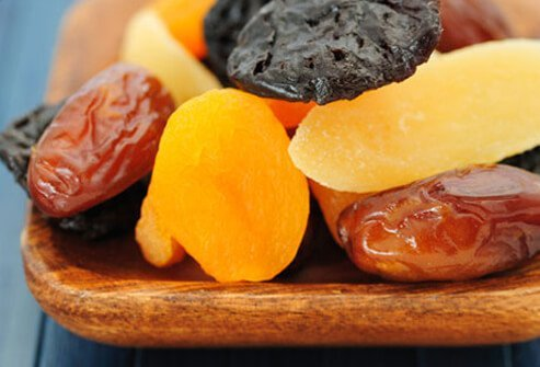 Photo of high fiber dried fruits.