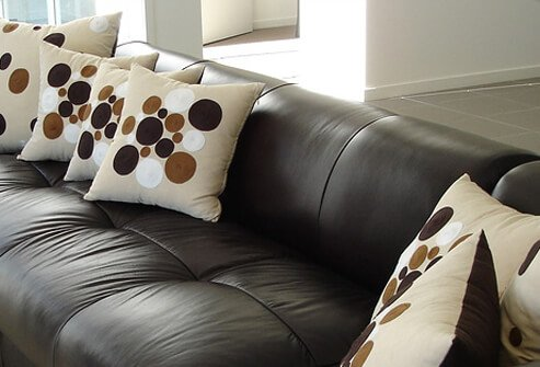 Sectional leather sofa in living room.