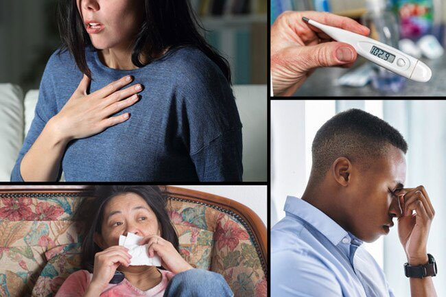 The first symptoms that typically appear include a fever, headache, sore throat, and dry cough.