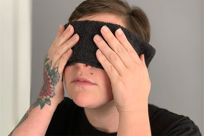 Put a warm compress over your eyes to soothe tired, achy eyes.