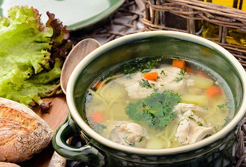 Chicken soup decreases mucus and helps the body get rid a cold more quickly.