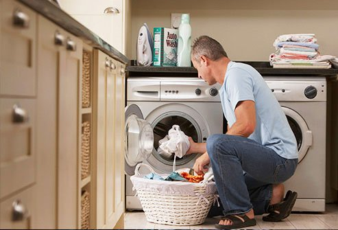 Be careful not to infect yourself as you clean clothes.