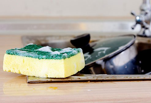 Kitchen sponges can't be cleaned in a microwave very effectively.