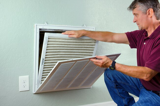 Service and clean your heating and air conditioning system regularly to optimize indoor air quality.