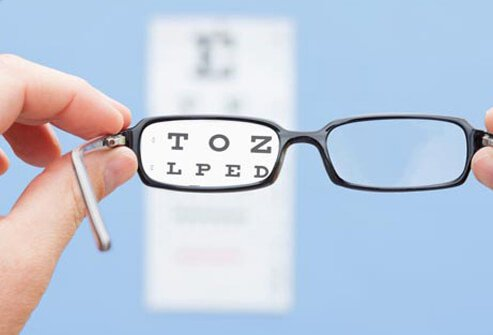 A pair of eyeglasses held in front of an eye chart.