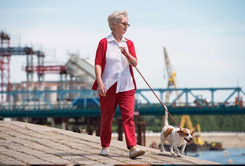 A senior woman walking her dog along the docks.