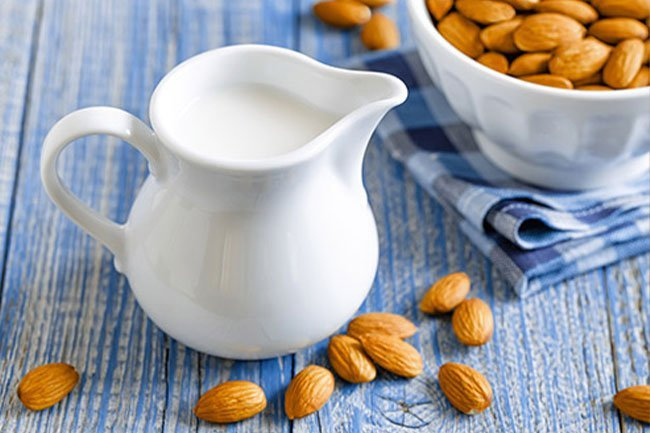 Made from ground almonds and filtered water, one cup of almond milk can have fewer than 30 calories while packing 450 milligrams of calcium.