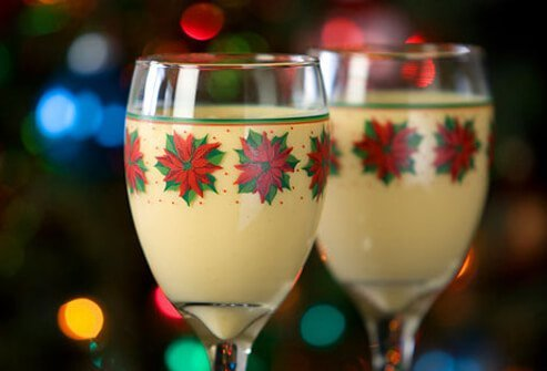 Glasses of holiday eggnog.