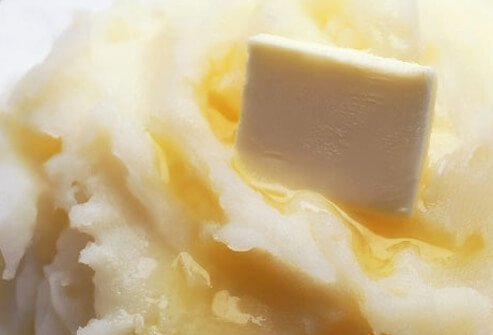 Butter melting on mashed potatoes.