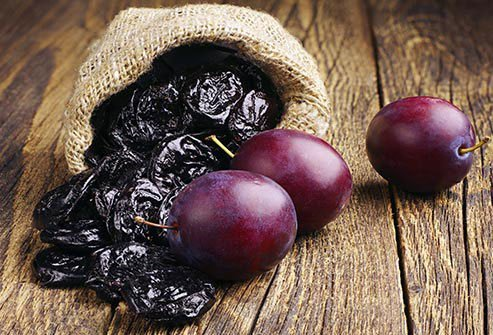 Prunes and plums in a sack