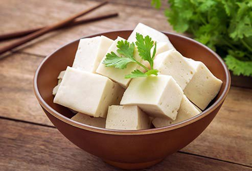 Tofu cubes in a bowl