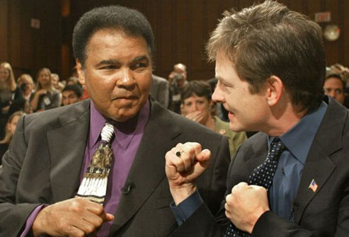 Photo of Muhammad Ali and Michael J Fox.
