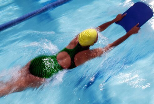 Woman swimming for exercise.