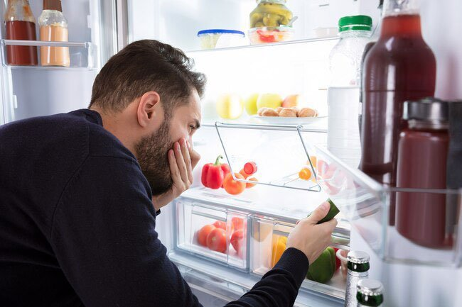 Clean up spills in your fridge right away so they don't allow smelly bacteria to grow.