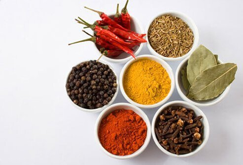 Dishes with many diffrent types of spices.