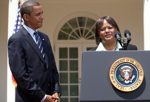 President Barack Obama with Surgeon General Vice Admiral Regina M. Benjamin, M.D., M.B.A.