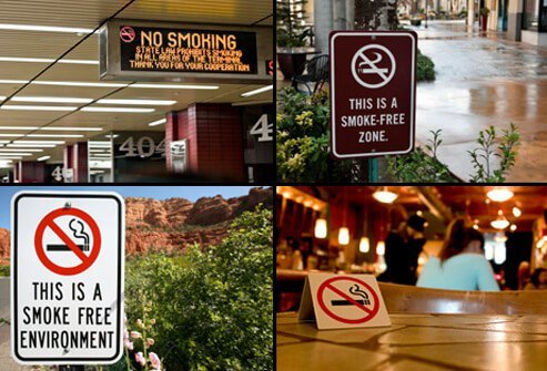 Several public environments display no-smoking signs.