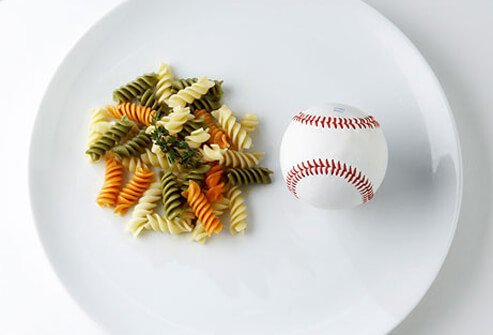 Photo of pasta and baseball.