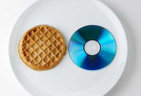 A 1-ounce portion of grains in a pancake or waffle is about the size of a CD.