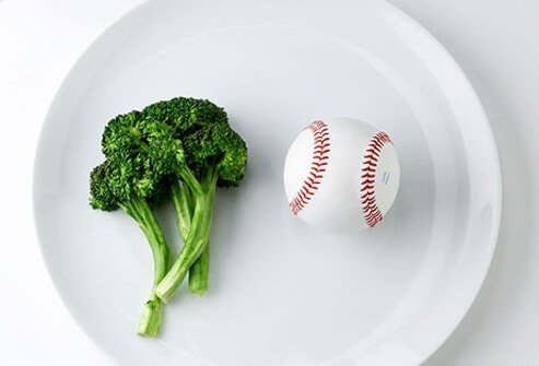 Photo of broccoli and baseball.
