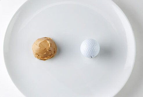 A golf ball is about the right size for a portion of peanut butter.