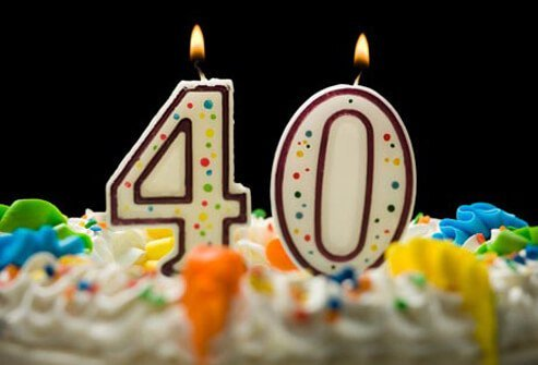 Photo of fortieth birthday cake candles.