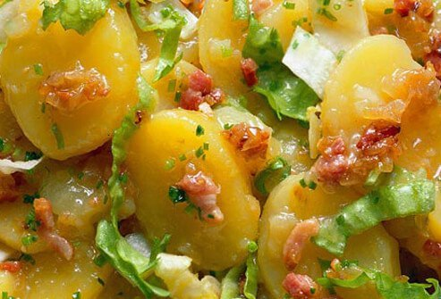 Photo of potato salad with bacon.