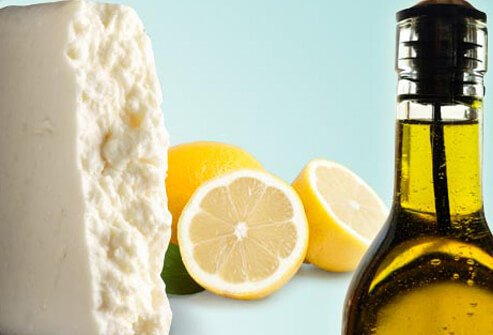 Photo of olive oil and feta.