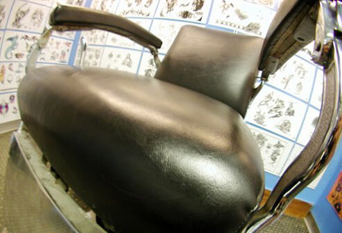 Chair in a tattoo salon.