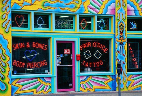Exterior of Pair O'Dice Tattoo Parlor.