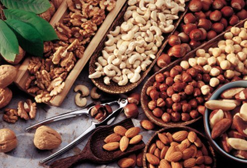 A diet for healthy hair should include some nuts.