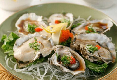Oysters owe their hair-boosting abilities is zinc -- a powerful antioxidant.