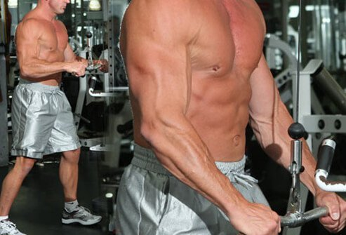 Push the cable down by making your arms straight.