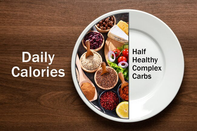 But as a general rule, about half your daily calories should come from carbs in fruits, vegetables, grains, beans, and dairy products.