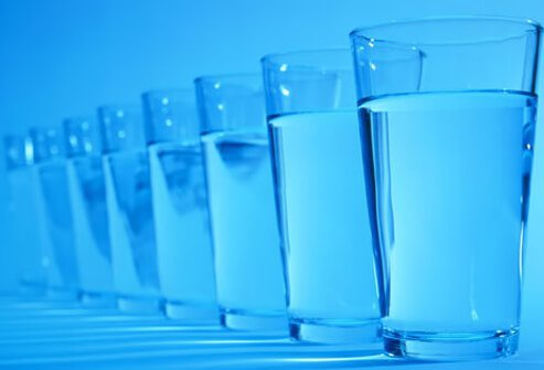 A row of water glasses.