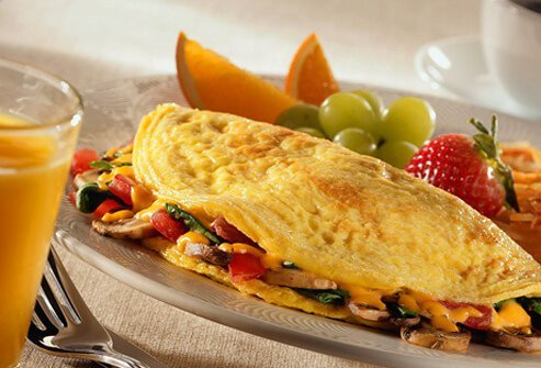 Veggie omelets make a great addition to a high protein vegetarian diet.