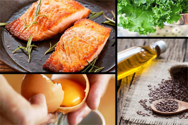 Omega-3 fatty acids are found in oily fish and flaxseeds.