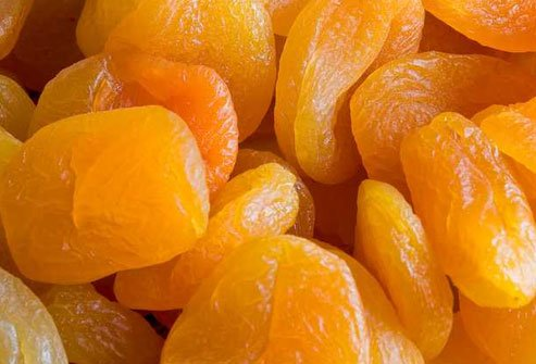Dried apricots, bananas, and dairy products supply the mineral potassium.