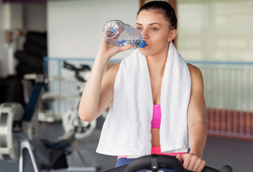 Drinking water helps you sweat and expel toxins from the body.