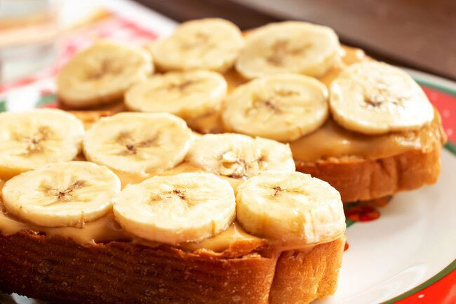 Peanut butter and banana toast is a favorite morning dish.