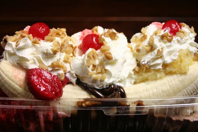 Not as healthy as a banana alone, the classic banana split is a soda-fountain favorite.