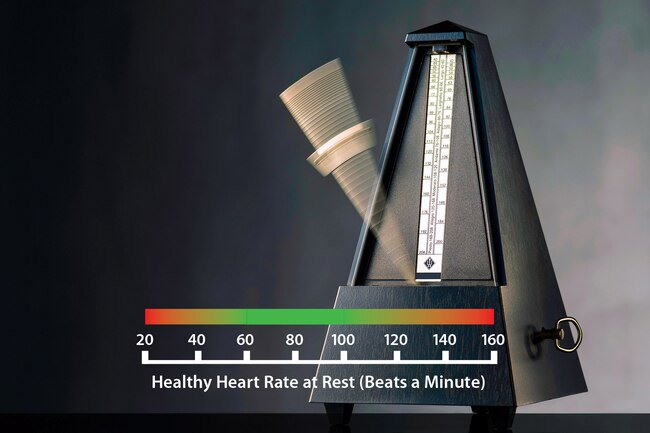 Healthy people have a resting heart rate between 60 and 100 beats per minute.