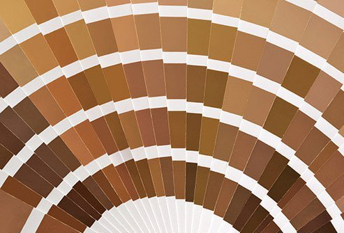 Almost any shade of brown, or even green, is considered OK.