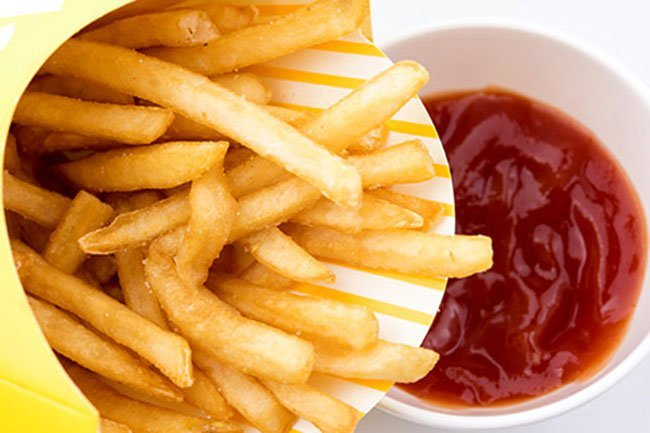 Fast-food fries often have more than 15 ingredients, including sugar and artificial coloring.