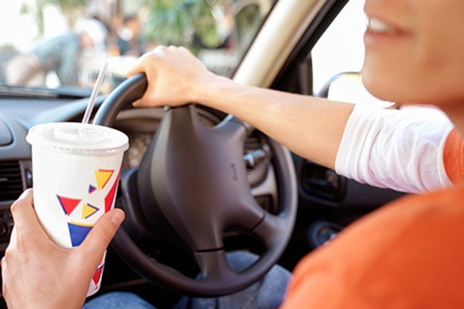 A large soda at a typical fast-food place is about 32 ounces and has about 270 calories.