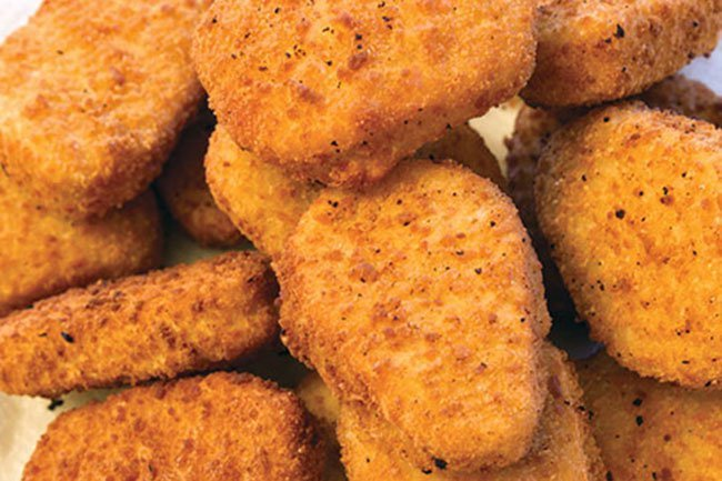 A piece of chicken breast battered and fried to golden perfection? Not exactly.