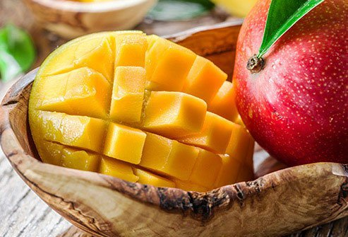 Sugar content in fruit is variable but mangoes have a high amount.